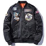 フライトジャケット 長袖 防寒 中綿入り メンズ MA-1 ミリタリー 刺繍 冬コート カジュアル C2015C-XXL