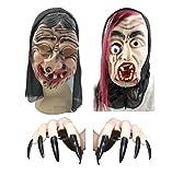 [pkpohs] ホラーマスク 2点セット (+爪) お面 マスク ゾンビ 魔女 肝試し ハロウィン 変装 仮装 (セットA)
