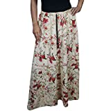 Womens Bohemian Skirt Rambling Rose printed Cotton Maxi Skirts Medium/large