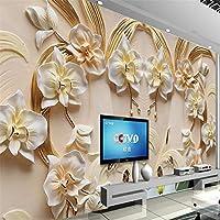 Bzbhart 3D胡蝶蘭のエンボス加工の壁3D砂岩エンボス加工の壁カスタム大型壁画グリーンの壁紙-250cmx175cm