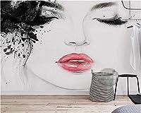 Weaeo カスタム壁紙家具壁画の水彩画炎の唇美しさシンプルなテレビのソファの背景壁3D壁紙-350X250Cm