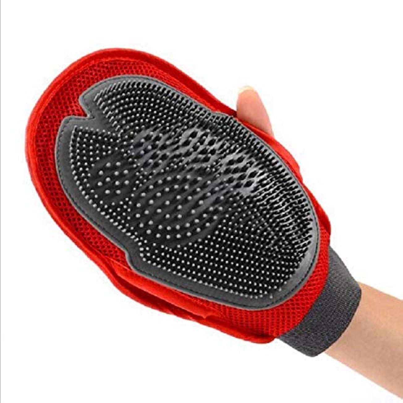 硬さフェザーカートンBTXXYJP 手袋 ペット ブラシ 猫 ブラシ グローブ 耐摩耗 クリーナー 抜け毛取り マッサージブラシ 犬 グローブ お手入れ (Color : Red, Size : L)