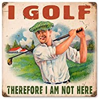 なまけ者雑貨屋 I Golf メタルプレート アンティーク な ブリキ の 看板、レトロなヴィンテージ 金属ポスター