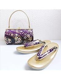 振袖&袴?着物に 草履バッグセット横丸型紫黒ぼかし地流水桜フリー?LL