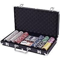 Costway ポーカーセット チップ カジノゲーム 300枚入り Casino Game アルミケース入り トランプ(ブラック)