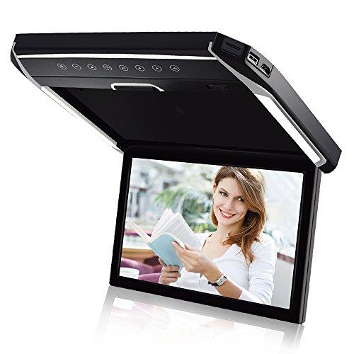 LOSKAフリップダウンモニター高画質1280*80012.1インチデジタルフリップダウンモニター LEDバックライト液晶HDMI MicroSD/USB対応 IRヘッドホン機能対応 高級感LEDルームランプ付き 超薄型 最新タイプ