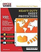 Heavy Duty Clearシートプロテクター–150パック、強化穴、8.5X 11インチ、酸フリー/Archivalセーフby officewerks