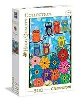 500ピース ジグソーパズル Clementoni かわいいフクロウ Ambrosino: Cute little owls 36×49cm 35024