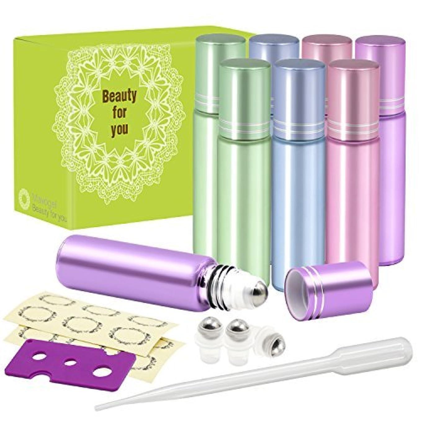まだらアレルギー疾患Pack of 8, 10ml Glass Roll on Bottles with Stainless Steel Roller Balls for Essential Oil- Include 3 Extra Roller...