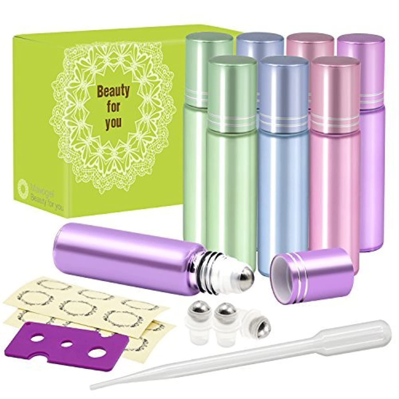 海嶺口却下するPack of 8, 10ml Glass Roll on Bottles with Stainless Steel Roller Balls for Essential Oil- Include 3 Extra Roller...