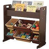 おもちゃ箱 ラック 絵本ラック 2段 ブラウン 幅86.5×奥行39.7×高さ79.6cm #9311-2