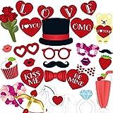 バレンタインデー 写真ブース小道具キット 35個 DIY クリエイティブ 面白い 変装 小道具 パーティーデコレーション ラブバナー 誕生日プレゼント 結婚式 写真ブースの背景 ブライダルシャワーの背景