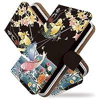 KEIO ケイオー Galaxy Feel SC-04J カバー 手帳型 和柄 和風 sc04j 手帳 鯉 魚 金 Galaxy ケース Feel ケース SC-04J ケース 竜門 登 鯉 黒 ギャラクシー 手帳型ケース フィール 手帳型ケース ittn竜門登鯉黒t0550