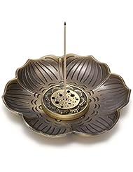 crystaltearsヴィンテージ真鍮香炉ホルダーAshキャッチャー、Lotusスティック香炉、Backflow Incense Burner、9つ穴タイプデザイン、取り外し可能 FPUS0001872