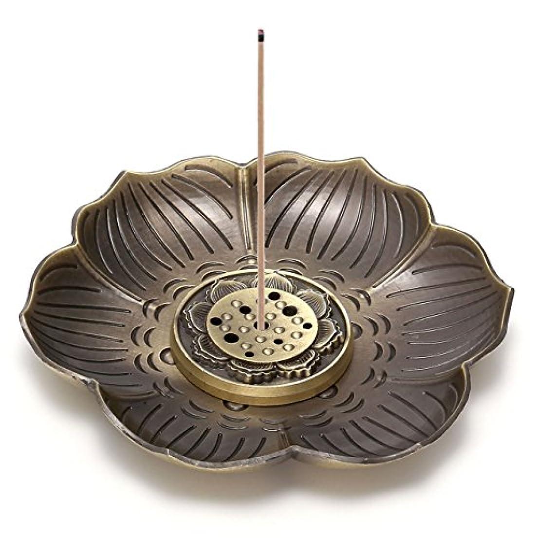 貪欲依存ウェイドcrystaltearsヴィンテージ真鍮香炉ホルダーAshキャッチャー、Lotusスティック香炉、Backflow Incense Burner、9つ穴タイプデザイン、取り外し可能 FPUS0001872
