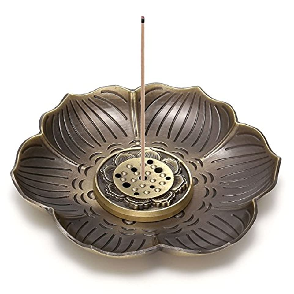 デコレーションフィールド服crystaltearsヴィンテージ真鍮香炉ホルダーAshキャッチャー、Lotusスティック香炉、Backflow Incense Burner、9つ穴タイプデザイン、取り外し可能 FPUS0001872