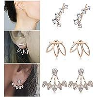 LOLIAS 3 Pairs Lotus Stud Earrings Set for Women Girls Bohemian Ear Crawler Cuff Earring