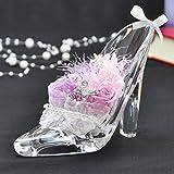 プリザーブドフラワー 花花 シンデレラ ガラスの靴 お祝い プチギフト プレゼント ギフト 枯れないお花 (エレガンスリラ パープル)