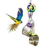 創意的なオウム おもちゃ ステンレス鋼噛むおもちゃ 2つの鍋の串 オウムのおもちゃ 鳥用品 インコ オウム おもちゃ ストレス解消 木製