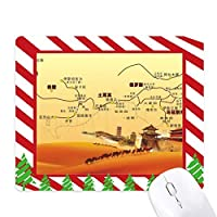 ランドマークのラクダの砂漠の旅のシルク・ロードマップ ゴムクリスマスキャンディマウスパッド