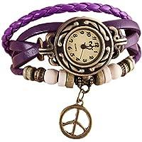 Lookatool Lady Women's Peace Symbol Quartz Weave Around Leather Bracelet Wrist Watch (Purple)