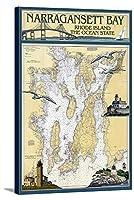 ナラガンセット湾、ロードアイランド州Nautical Chart 24 x 36 Gallery Canvas LANT-3P-SC-31309-24x36