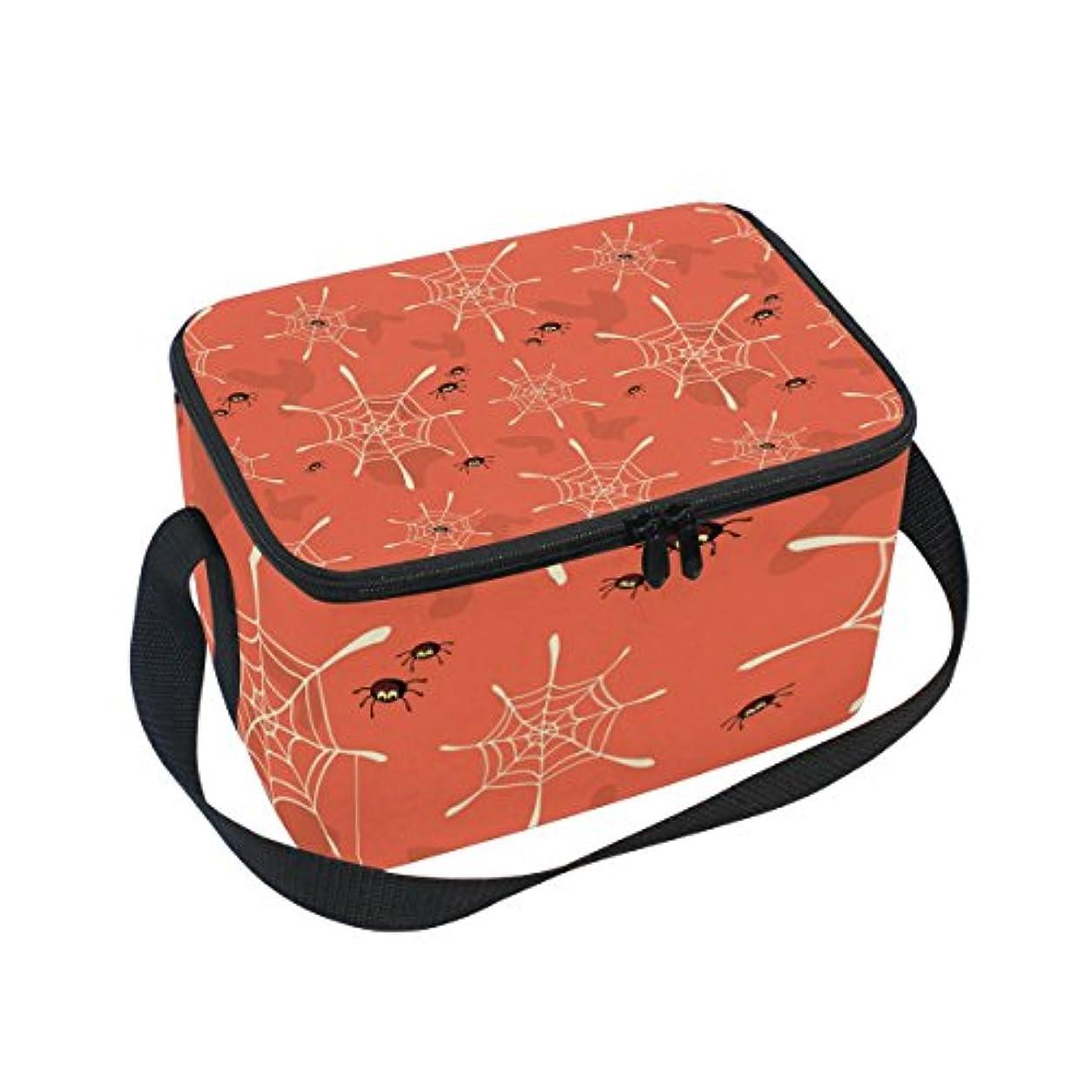 火山学発音するアンケートクーラーバッグ クーラーボックス ソフトクーラ 冷蔵ボックス キャンプ用品 蜘蛛柄 オレンジ 保冷保温 大容量 肩掛け お花見 アウトドア