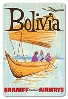 22cm x 30cmヴィンテージハワイアンティンサイン - ボリビア - ブラニフ 国際気道 - ビンテージな航空会社のポスター c.1950s