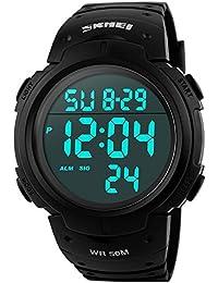 112361fd8f SKMEI 腕時計 メンズ 大きい文字盤 スポーツ 5気圧防水 デジタル表示 LEDライト 日付 曜日