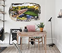 3D 汽車の森の景色 6 ウォールステッカー 壁の装飾 壁紙 壁画 三次元 突破口 世帯 ホームインテリアフォト Carly (250*150cm)