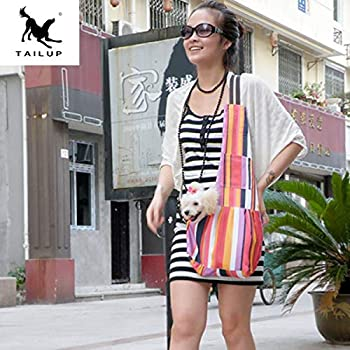 TAIL UP ペット用スリング 抱っこ紐 肩掛けペットバッグ ドッグ/キャットスリング キャリーバッグ 斜め掛け 調整可能 小型犬・猫用 アウトドア・旅行・お出かけ便利 (S(0.25~2kg), マルチカラー)