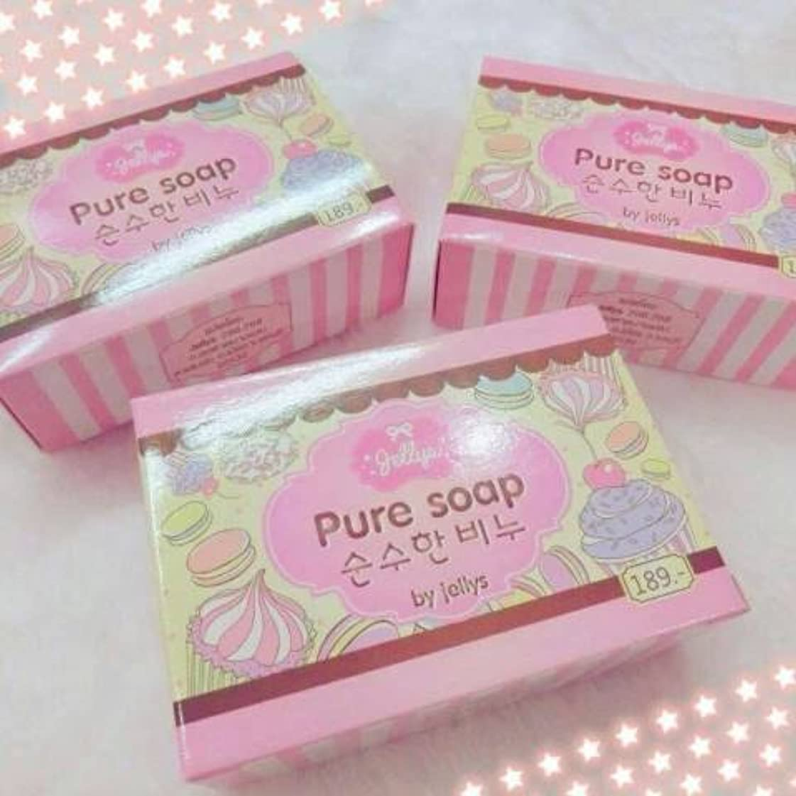 捧げる怖い焼くPure Soap By Jellys 100% Pure White Jelly Soap. Whitening Soap. 100 g.