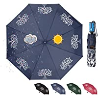 CARRYWON Color Changing Auto Open Folding Umbrella, 8 Ribs Waterproof Winfproof Rain Umbrella for Men Women Adult, Tree of Life Umbrella(Four Colors)