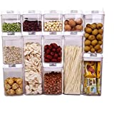 Airtight Food Storage Container 12 Sets with Easy Open & Lock, Air-Tight Dry Fresh Storage Set BPA-Free Clear Durable Plastic