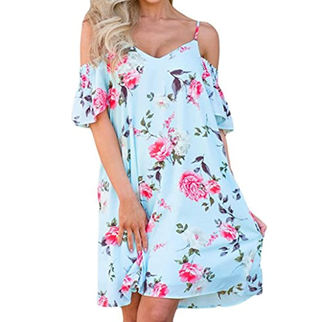 驚きシーケンスナサニエル区SakuraBest Women's Summer Print Spaghetti Strap Flounce Loose Swing Midi Dress (M, Blue)