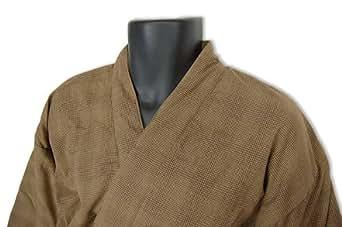 秋・冬用 裏フリース作務衣(さむえ)9060格子柄(黒・茶・紺)S~L (M, 茶)