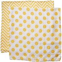 juDanzy 100% Cotton Swaddle Set of 2 Large 45X45 Muslin Baby Girl or Boy Blankets (Sunshine Chevron) by juDanzy
