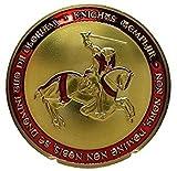 フリーメイソン 十字軍 テンプル騎士団 ゴールドコイン (レッド) ケース付き コレクターズアイテム 並行輸入品