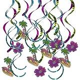Kesoto 約16個 フラミンゴ 渦巻き スワールデコレーション  誕生日 飾り付け ハワイスタイル 熱帯 装飾