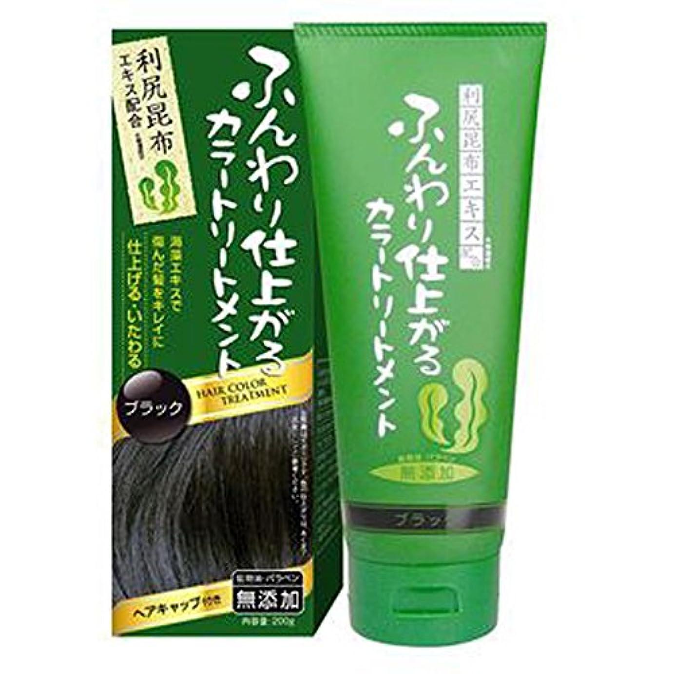 過去カウンターパート思い出ふんわり仕上がるカラートリートメント 白髪 染め 保湿 利尻昆布エキス配合 ヘアカラー (200g ブラック) rishiri-haircolor-200g-blk