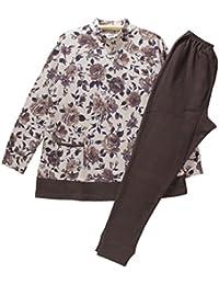 Mサイズ(秋冬) 婦人/長袖?長パンツパジャマ(ミラショーン 日本製) 綿100%エイトロックニット ハイネック/かぶり (ブラウン)