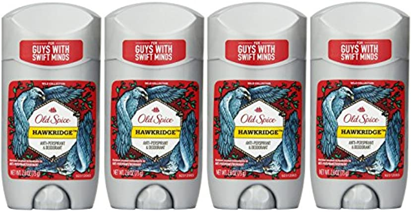 Old Spice ワイルドコレクションHawkridge香りメンズインビジブルソリッド制汗&デオドラント2.6オズ(4パック) 4パック 明確な