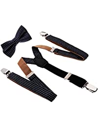 Kesoto 赤ちゃん サスペンダー ネクタイ 約78x2cm  Y型 Wクリップ 男女兼用 全6色