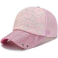 野球帽 レディース通気性メッシュアウトドアスポーツ夏のトラック運転手の帽子調節可能なお父さん帽子3色 シンプル おしゃれ 男女兼用 登山 釣り サイクリング アウトドア などに (Color : Pink, Size : Free size)