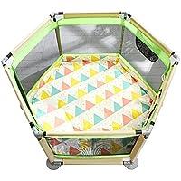 フロアマット付き折りたたみ式遊び場ドアを備えたロールオーバー式ベイビープレイラードグリーンセーフティ6パネル通気性幼児用プレイヤード