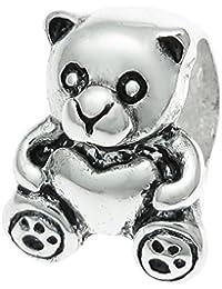 925スターリングシルバーTeddy Bear Sweetハートビーズ、ヨーロピアンチャームブレスレット