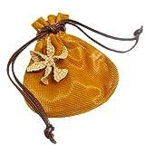 [マルニ] MARNI  メッシュ 巾着ポーチ オレンジ  ブローチ付 (並行輸入品)