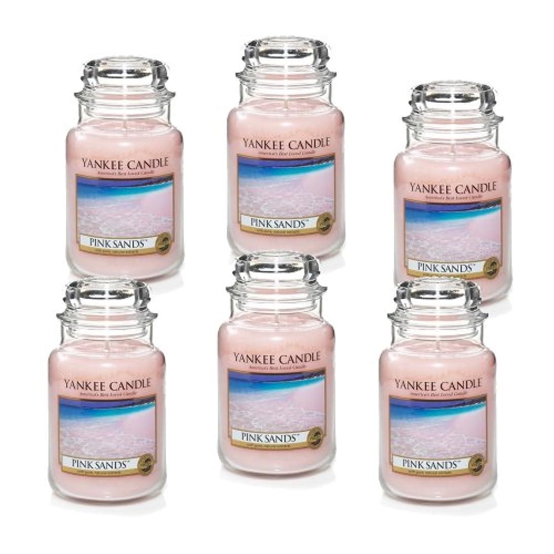 蒸し器特許挑発するYankee Candle ピンクサンズ 大瓶 22オンス キャンドル Set of 6 ピンク 1205337X6