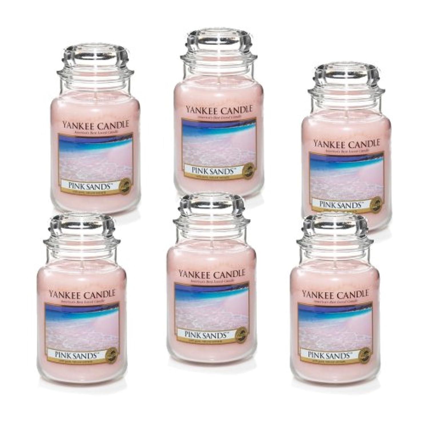 八百屋豊富な酸っぱいYankee Candle ピンクサンズ 大瓶 22オンス キャンドル Set of 6 ピンク 1205337X6