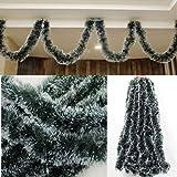 5X 2.5M Christmas Snow Tips Tinsel Garland Snowflakes Natural Decor Ornaments